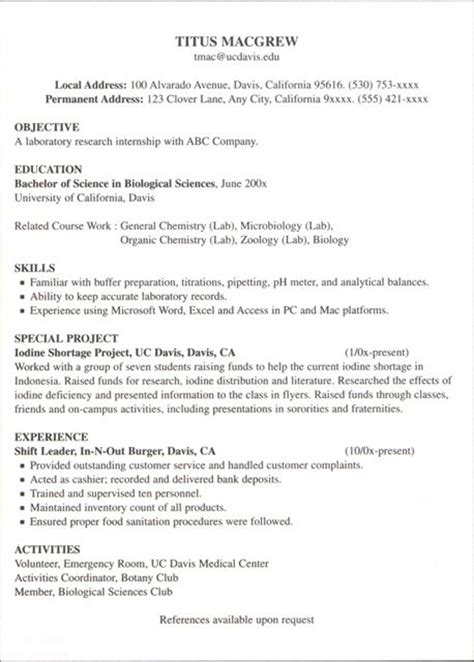 resume exles for internships how to write resume for internship recentresumes