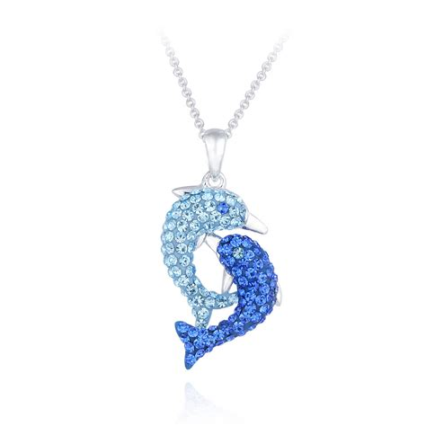 Dolphin Necklace silvertone blue dolphin necklace made with