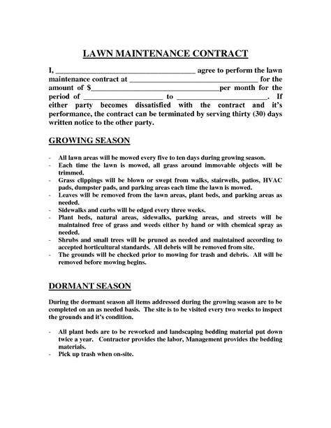 landscaping contract template lawn maintenance contract images lawn maintenance