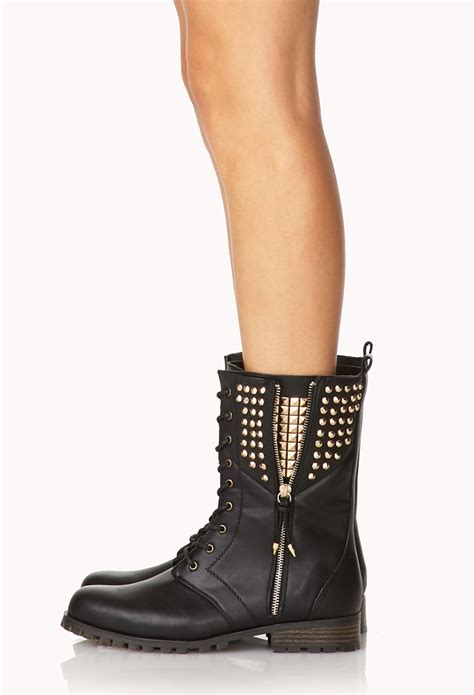 Boot Forever 21 Original forever 21 rocknroll combat boots in black lyst