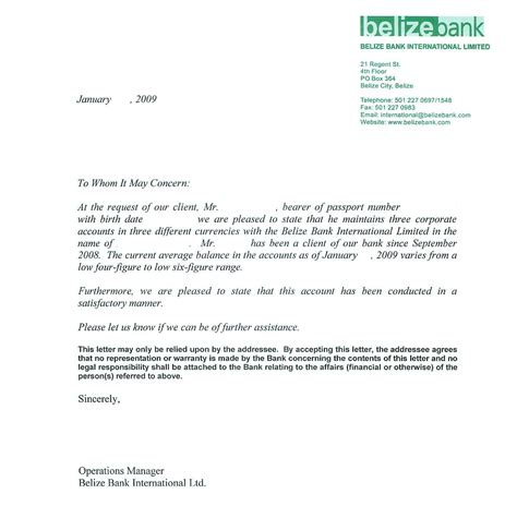 Official Letter Beginning sle bank reference letters starting business bank