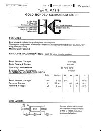 aa118 datasheet 90 v 500 ma gold bonded germanium diode from bkc semiconductors inc