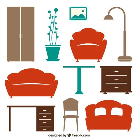 house furniture icons vector free