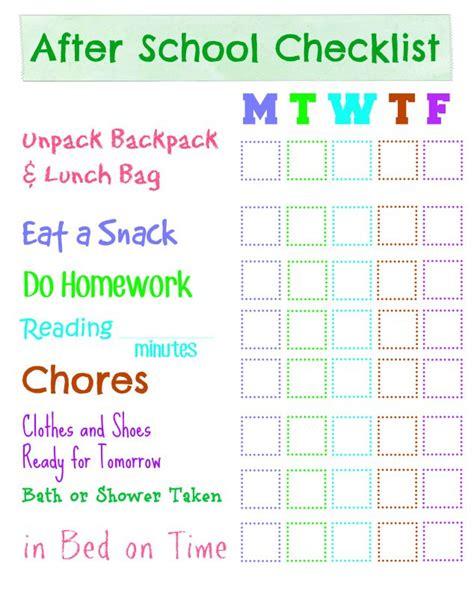 Dry Erase After School Checklist Family Focus Blog School Checklist Template