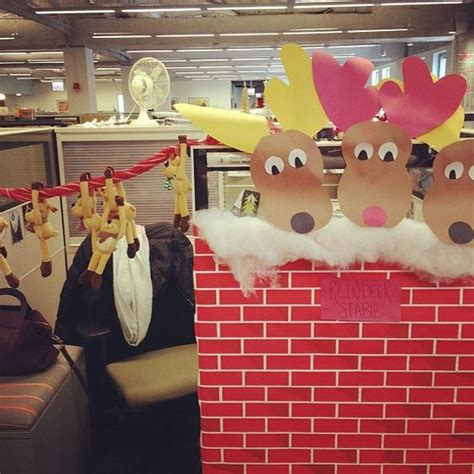 santa workshop cubicles ideas the reindeer stable at our office pole office decorating cube decorating santa s