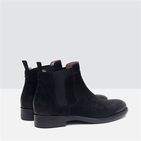 zara mens chelsea boots zara leather chelsea boots in black for lyst