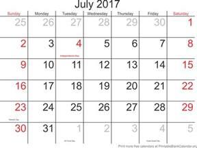 Printable July 2017 Calendar July 2017 Printable Calendar Printable Blank Calendar Org