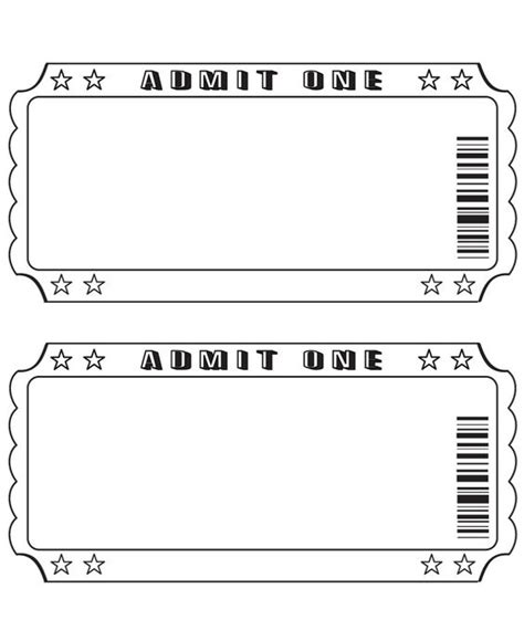 ticket template for pages blank ticket pinteres