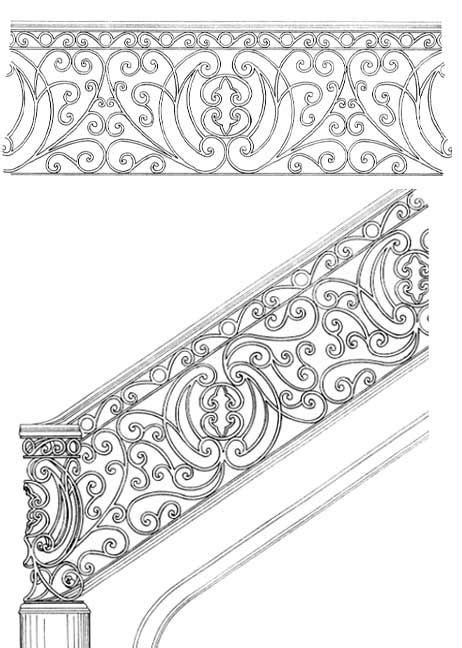 Stair Railing Designs ISR086 | Classic steel gate | Stair