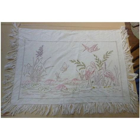 Segi Empt Linen Ruby Maroon tropical wading birds and water lilies embroidered linen chez marianne ruby