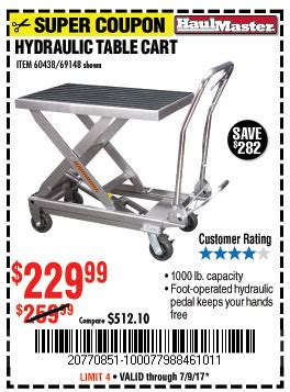 1000 lb capacity hydraulic table cart harbor freight tools coupon database free coupons 25