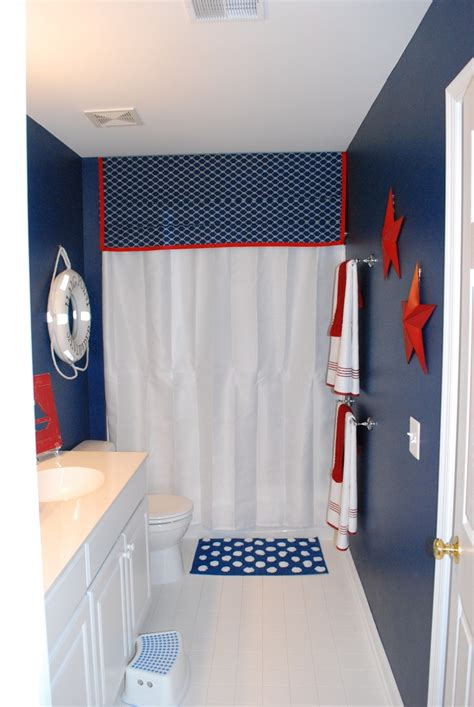 Nautical Themed Curtains Decorating Boys Bathroom With A Nautical Theme Boys Nautical Theme And White Curtains