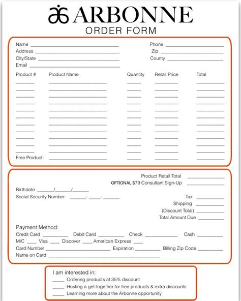 Arbonne Printable Order Forms | wellness