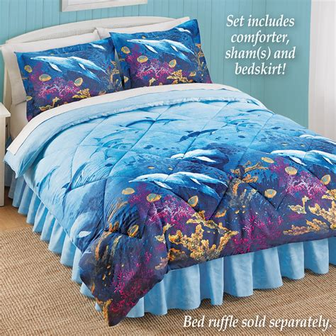 dolphin bedding comforter set dophin theme twin full queen king bed skirt shams dolphins bedding