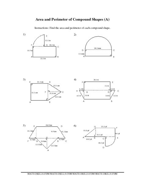 Area Of Irregular Figures Worksheet by Measurement Worksheet Area And Perimeter Of Compound