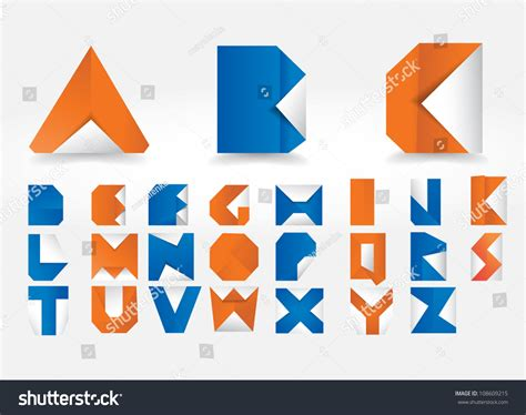 How To Make Origami Letters - vector origami alphabet letters stock vector 108609215