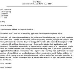 compliance officer cover letter sample lettercv com