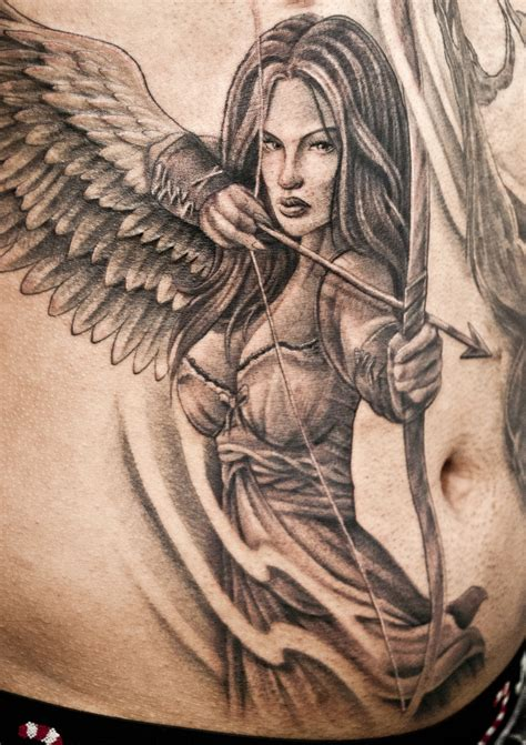 tattoo angel woman front angel warrior tattoo chronic ink