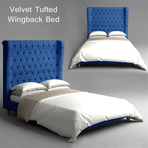 tufted velvet bed velvet tufted wingback bed 3d model max cgtrader com
