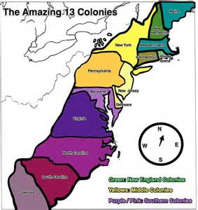 colony of map 13 colonies map free large images
