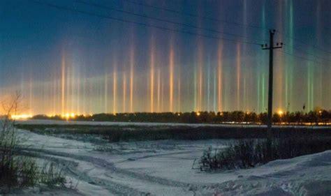eyewitnesses stunned by light pillars appearing