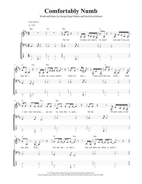 comfortably numb music comfortably numb bass guitar tab by pink floyd bass