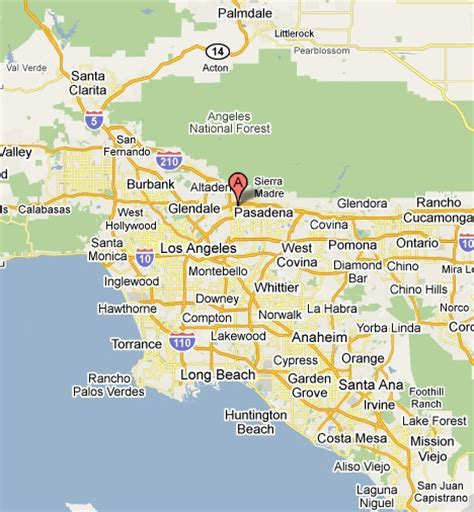 pasadena california map pasadena ca map my