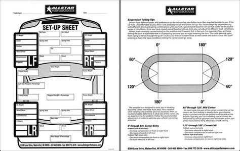 race car setup sheet template race car setup sheets images frompo