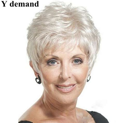 wigs for women over 70 with fine thin hair grey wig for old women wigs gray hair wigs mother pixie