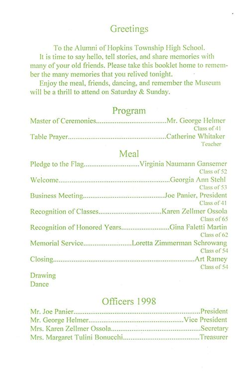 banquet program outline pictures to pin on pinterest