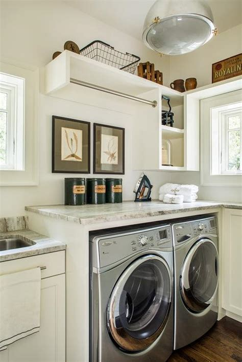 washer and dryer topper white shaker laundry room cabinets with gray granite