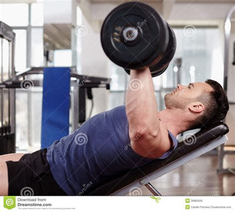 bench press only workout chest workout on bench press stock photo image 39982945