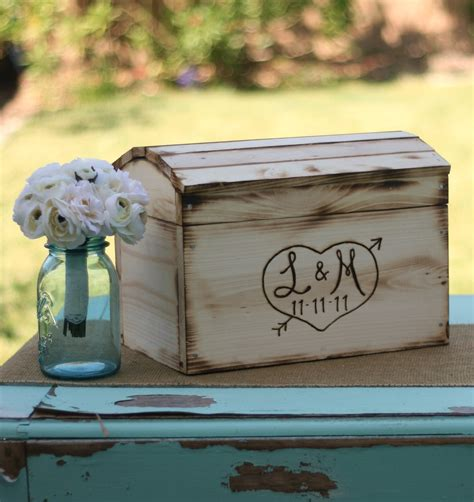 wooden wedding card holder rustic card box personalized wedding engraved wood item etsy