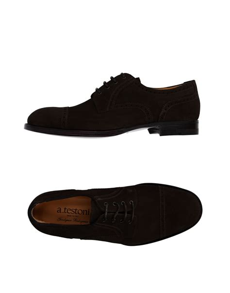 a testoni shoes a testoni lace up shoes in black for brown lyst