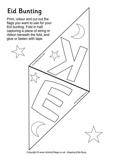 eid card templates to colour eid colouring bunting printable