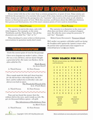 Point Of View Worksheets For Middle School by Point Of View Worksheet Education