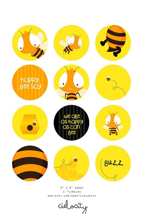 Printable Bee Stickers | bumble bee printable 1 quot circle cupcake toppers stickers