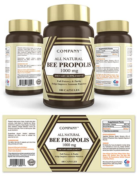 supplement label template bee propolis supplement label template