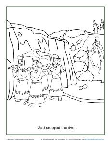 coloring page crossing the jordan river god stopped the river coloring page