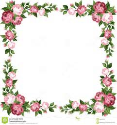 Vintage frame with pink roses rose buds and green leaves on a white