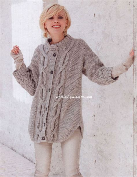 free womens knitting patterns cardigans cable pattern cardigan