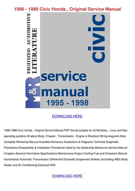 car service manuals pdf 2004 acura nsx engine control 1996 1998 civic honda original service manual by lovielemons issuu
