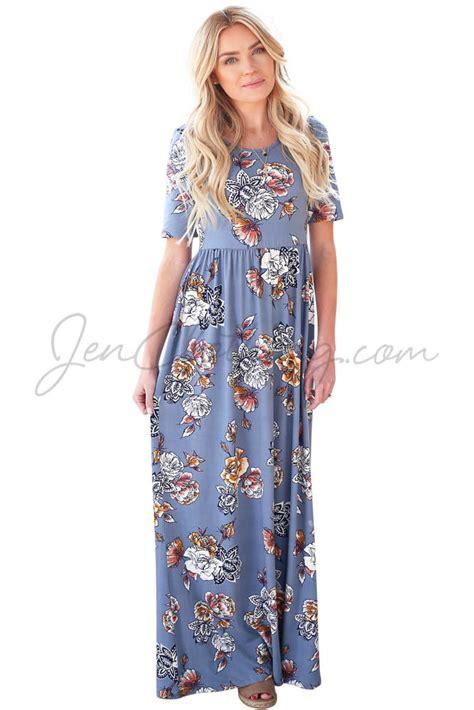 Maxi Miranda miranda modest maxi dress in sky blue w multicolor floral