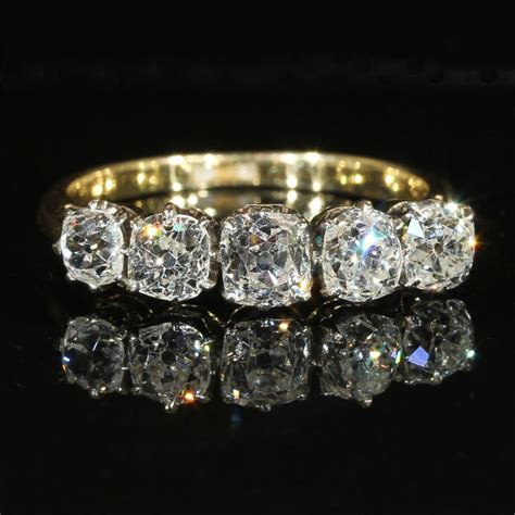 edwardian five ring in 18k and platinum c