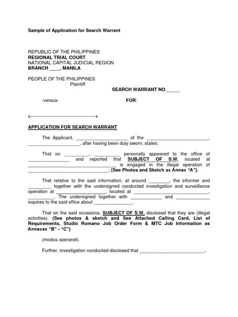 Search Warrants Sle Of Application For Search Warrant Affidavit