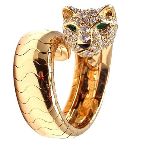 cartier onyx emerald gold panther ring for sale at