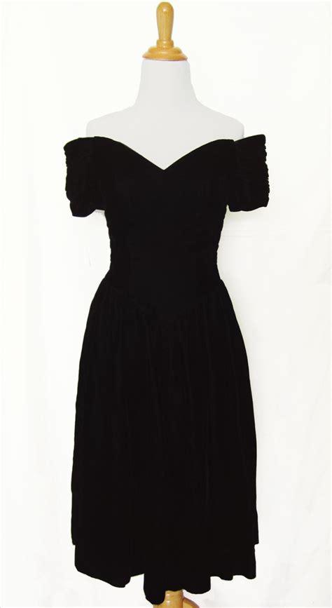 80 S Dress by 80s Prom Dress Black Velvet Off The Shoulder Dress