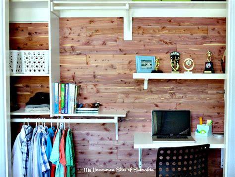 Cedar Plank Closet by Diy Cedar Planked Closet With Built In Desk