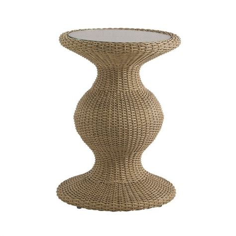 wicker accent table tommy bahama home aviano round glass top wicker accent