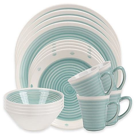 bed bath and beyond dishes sango rico 16 piece dinnerware set in aqua bed bath beyond